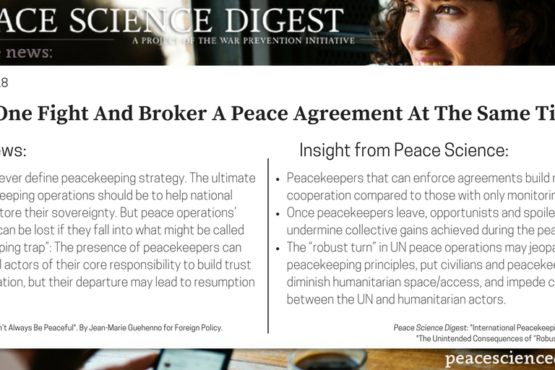 Can We Fight And Broker Peace Agreements At The Same Time?