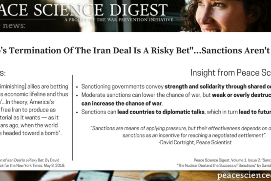 """""""Trump's Termination of the Iran Deal is a Risky Bet""""…Sanctions Aren't Easy."""