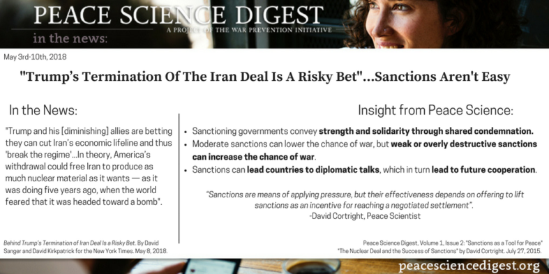 """Trump's Termination of the Iran Deal is a Risky Bet""…Sanctions Aren't Easy."