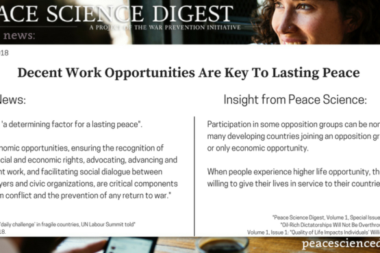 Decent Work Opportunities Are Key To Lasting Peace