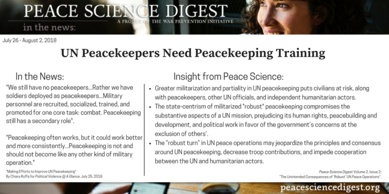 UN Peacekeepers Need Peacekeeping Training