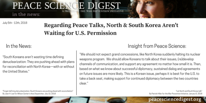 Regarding Peace Talks, North & South Korea Aren't Waiting for U.S. Permission