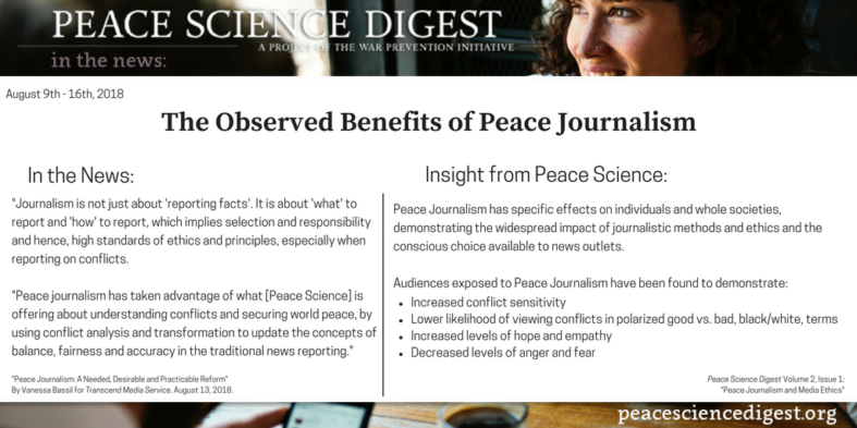 The Observed Benefits of Peace Journalism