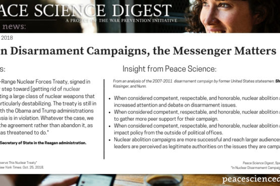 In Disarmament Campaigns, the Messenger Matters