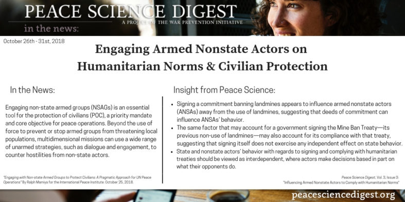 Engaging Armed Nonstate Actors on Humanitarian Norms & Civilian Protection