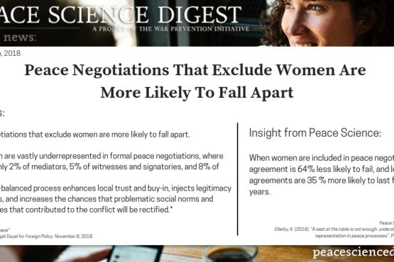 Peace Negotiations That Exclude Women Are More Likely To Fall Apart